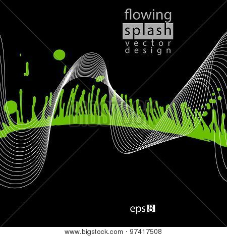 Artistic black and contrast airy ink template, scanned and traced splashing abstract element.