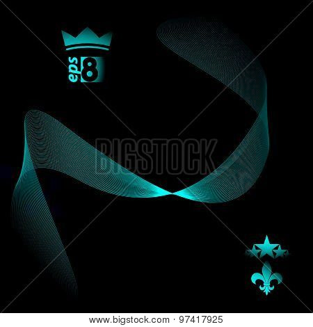 Three-dimensional motif elegant flowing curves, dark background in motion with five stars emblem, ep