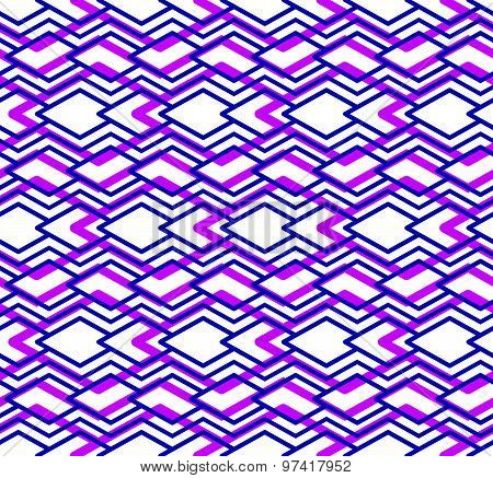 Bright abstract seamless pattern with interweave lines. Vector colorful transparent backdrop. Purple