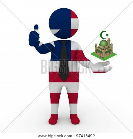3d businessman people Liberia- Muslim mosque and Islam in Liberia