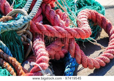 Colorful Fishing Ropes Close Up.