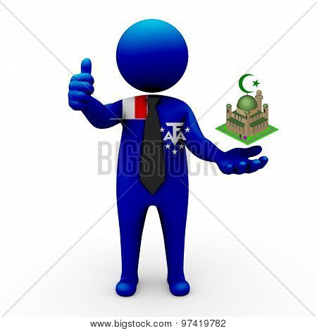 3d businessman people Scattered Islands in the Indian Ocean - Muslim mosque and Islam