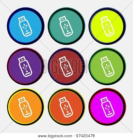 Usb Flash Drive Icon Sign. Nine Multi Colored Round Buttons. Vector