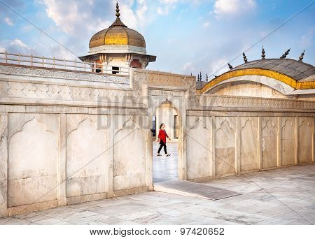 Tourist In Agra Fort