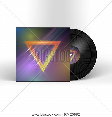 Retro Vinyl Record 1980s Style Cover with Neon Lights and Abstra