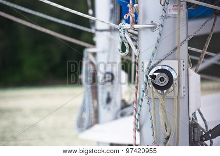 Winches And Ropes, Sailing Yacht Detail