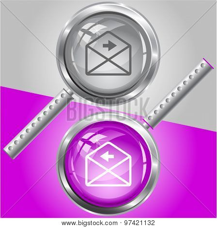 mail left arrow. Vector magnifying glass.