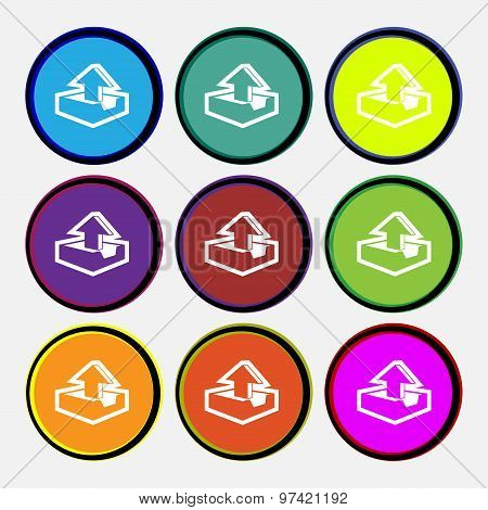 Upload Icon Sign. Nine Multi Colored Round Buttons. Vector
