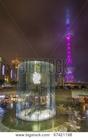 Oriental Pearl Tower And Apple Store