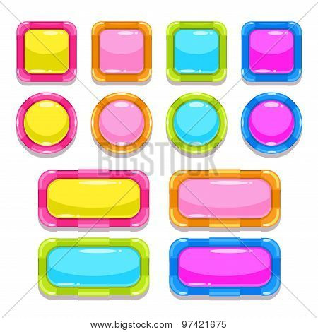 Funny colorful buttons set