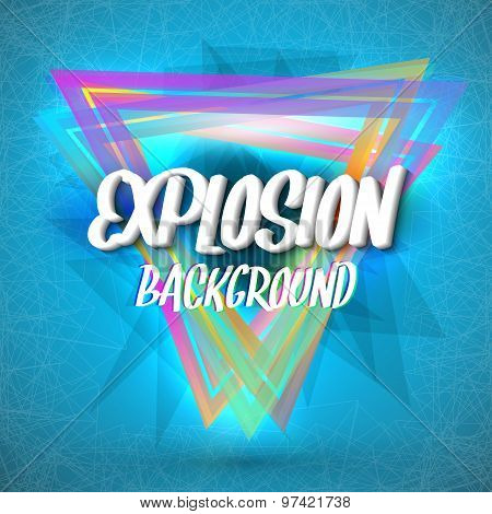 Abstract Explosion Background with Colorful Triangles, Particles