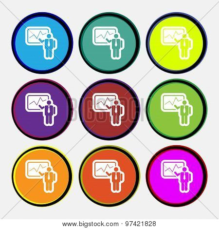 Businessman Making Report Icon Sign. Nine Multi Colored Round Buttons. Vector