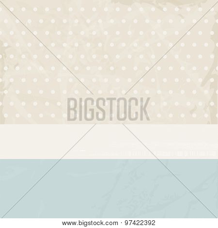 Vintage background for invitation with polka dots and banner - retro pattern