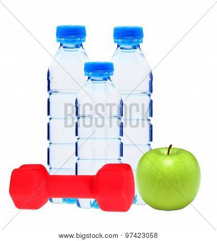 Blue Bottles With Water, Red Dumbell And Green Apple Isolated On White
