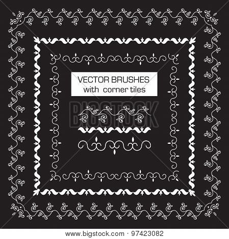 decorative vector brushes with outer corner tiles for borders, ornaments.