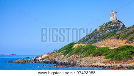 Ancient Genoese Tower Parata On Rocky Cliff
