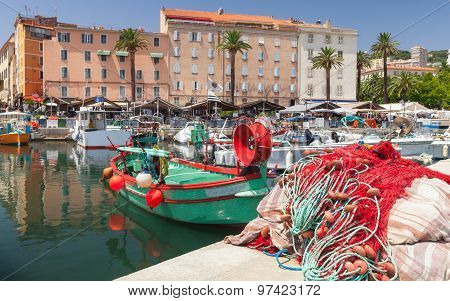 Colorful Fishing Net Laying In Port Of Ajaccio