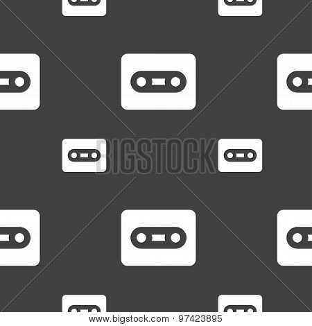 Cassette Icon Sign. Seamless Pattern On A Gray Background. Vector