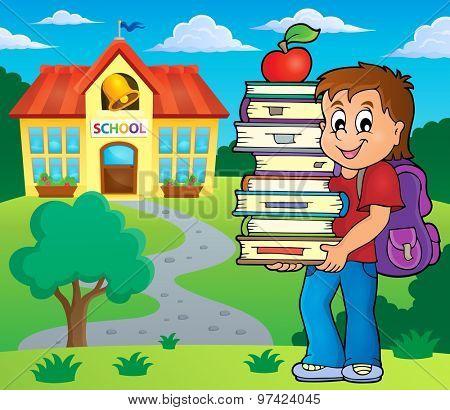 Boy holding books - eps10 vector illustration.