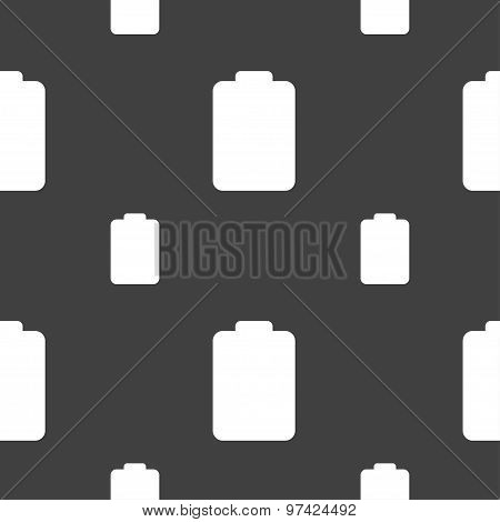 Battery Empty, Low Electricity Icon Sign. Seamless Pattern On A Gray Background. Vector