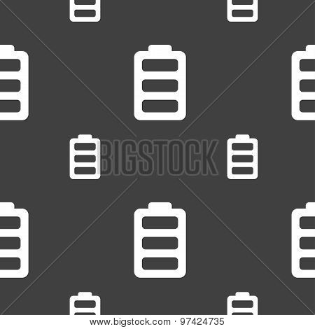 Battery Fully Charged Icon Sign. Seamless Pattern On A Gray Background. Vector
