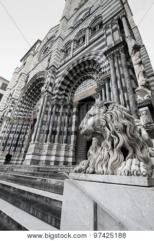 Cathedral Of San Lorenzo In Genoa, Italy, Black And White.