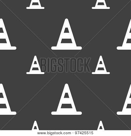 Road Cone Icon Sign. Seamless Pattern On A Gray Background. Vector