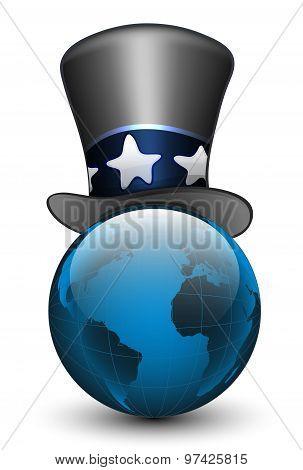 Globe In The Hat. Vector Illustration