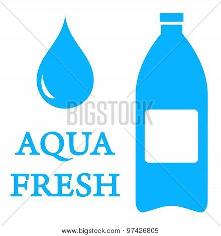 aqua icon with bottle and water drop