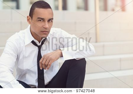 Attractive Businessman With A Loosened Tie