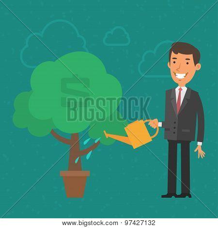 Concept businessman watering money tree
