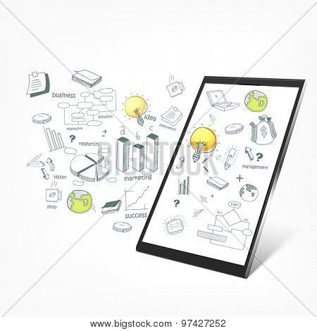 Creative illustration of tablet with various business infographic elements on white background.
