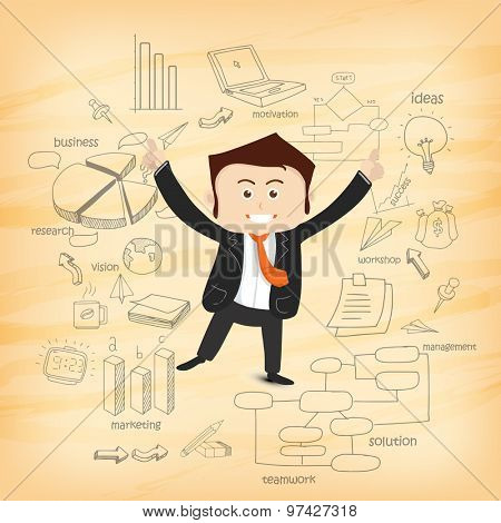 Illustration of a happy dancing businessman with various business infographic elements for your print, presentation and publication.