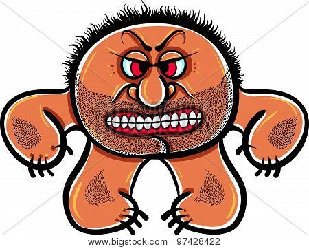 Angry cartoon monster with stubble, vector illustration.