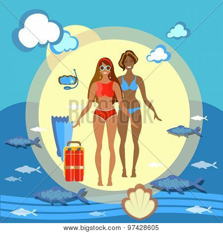 Beautiful Girls Beach, Happy, Woman Fashion, Slim, Sea, Beach Party, vector