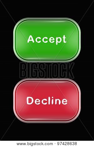 Modern Glass Buttons Accept Decline