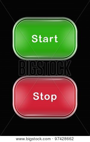 Modern Glass Buttons Start Stop