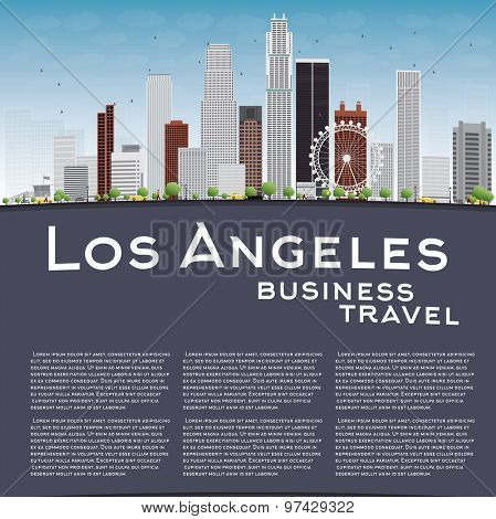 Los Angeles Skyline with Grey Buildings, Blue Sky and copy space. Business travel concept. Vector illustration
