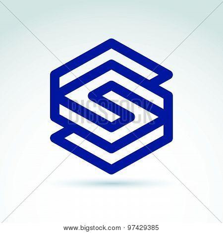 Geometric abstract symbol, vector graphic design element, icon.