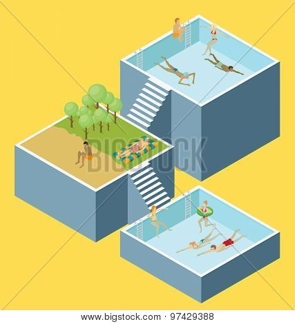 Water pool fun concept. Vector 3d flat isometric poll with people are having fun