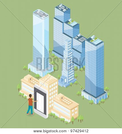 The door to the big city concept. Vector 3d flat isometric door, man and office building