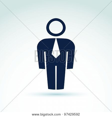 Silhouette of person standing in front, vector illustration of an office manager.  Delegate