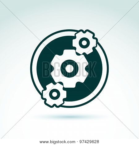 Gears and cogs system theme icon, dialogue and message, vector conceptual stylish symbol