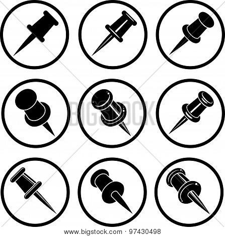 Push pins icons isolated on white background vector set, symbols vector collections.