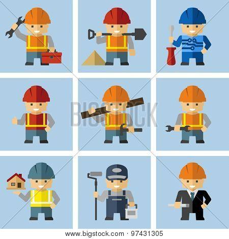 Industrial Builder Worker Cartoon Character Figures With Tools