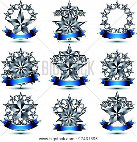 Set of silvery heraldic 3d glossy icons with curvy ribbons, best for use in web and graphic design