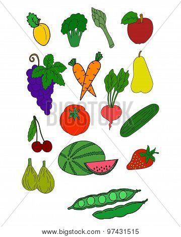 Fresh healthy fruits and vegetables vector collection of isolated fruit icons