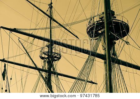 Vintage Ship Mast, Sepia Color, Retro Photography.