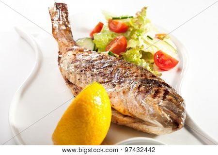 Grilled Dorado with Lemon and Vegetables