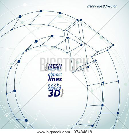 Clear eps8 engineering vector illustration, 3d mesh symbol, wireframe loop sign.